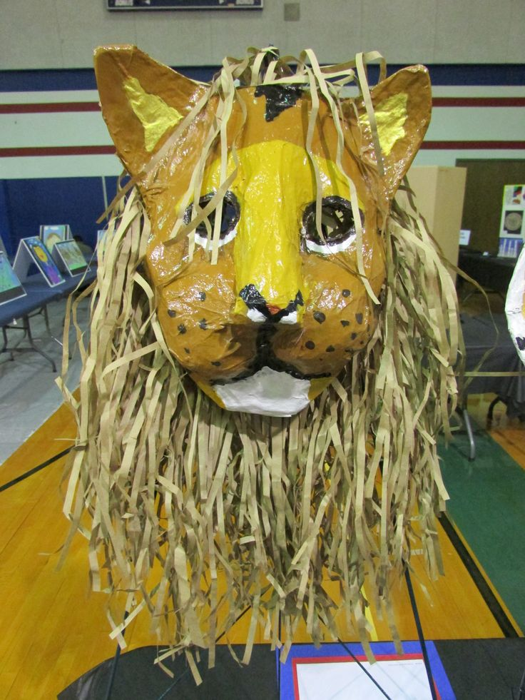 My 3rd grade student's paper mache lion mask; lesson by