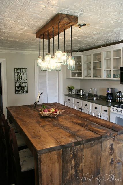 Love this kitchen! Especially the light and island. Mason Ball Jar Light and Rustic