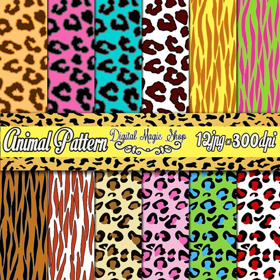 12 Colored Animal Seamless Digital Paper Cheetah Leopard