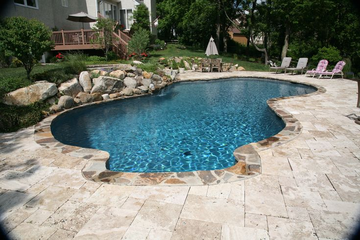 Free form in ground concreteplastergunite pool stone