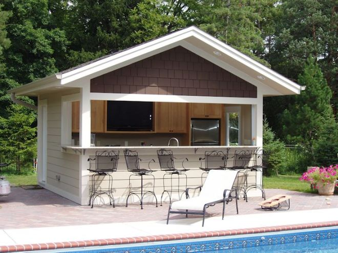 Build a bar into the side of your pool house where family
