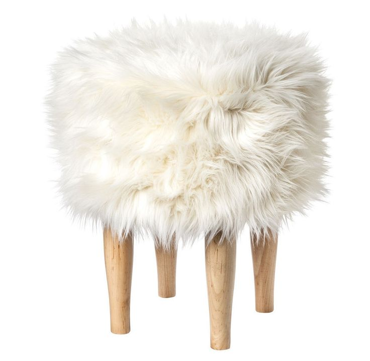 Nate Berkus For Target New White Faux Fur Stool Footstool Ottoman Faux Float NateBerkus