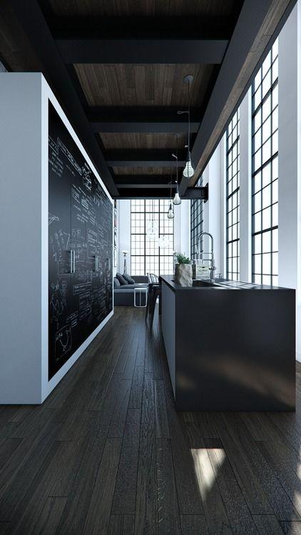 Industrial Kitchen Chalkboard Dark Island Warehouse