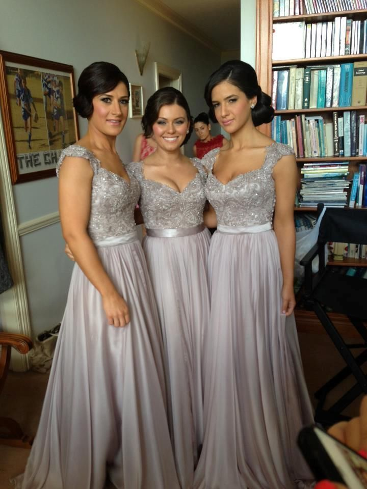 Cap Sleeve Bridesmaid Dresses Long Silver Chiffon Formal Evening Party Prom Gown—- finally the actual link to the dress!!!