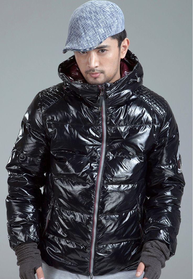 Dayu brand, men's shiny black down jacket. Shiny Down