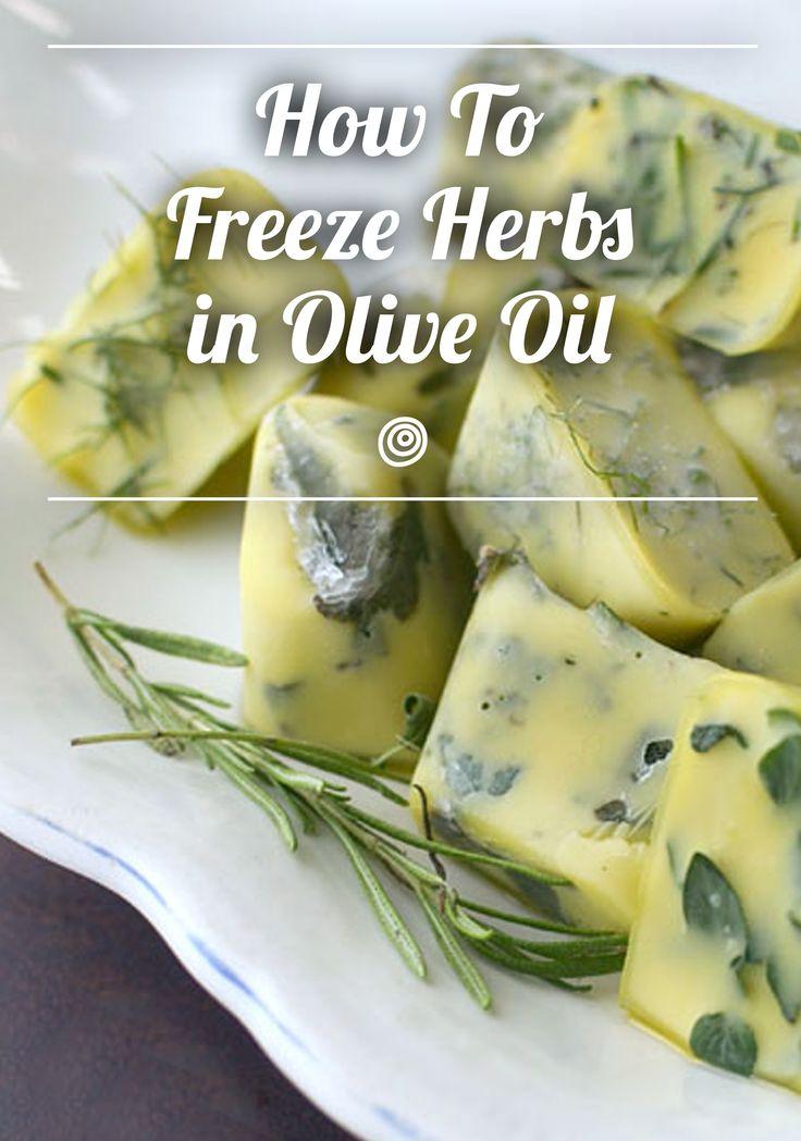 Freeze preserve fresh herbs in olive oil roasts ice