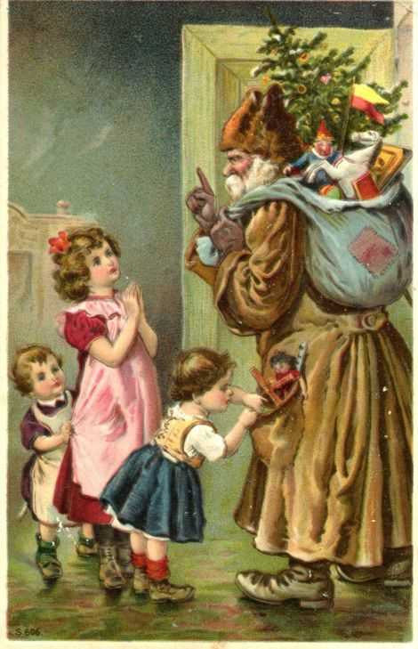 1916 Christmas Postcard Green Robe Santa Father Christmas Children Toys Horse | eBay: