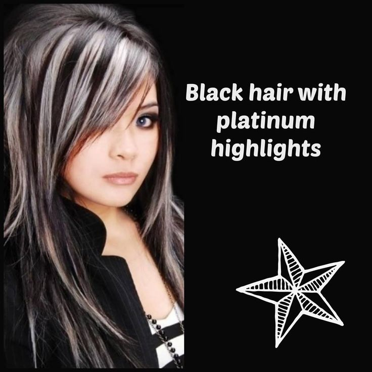 Black Hair With Platinum Highlights Hair Colour