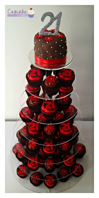 21st Birthday Cupcake Tower 4 Quot Double Chocolate Cutting
