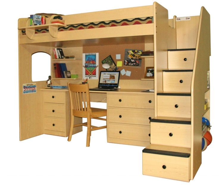 Loft Beds With Desk Underneath And Staircase With Drawers