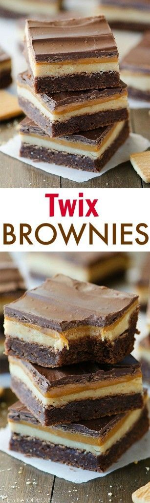 Twix Brownies – Amazing brownies with a caramel and shortbread layer, just like the candy bar! Click through for recipe!