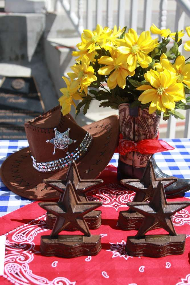 Cowgirl Boots Blue Flowers
