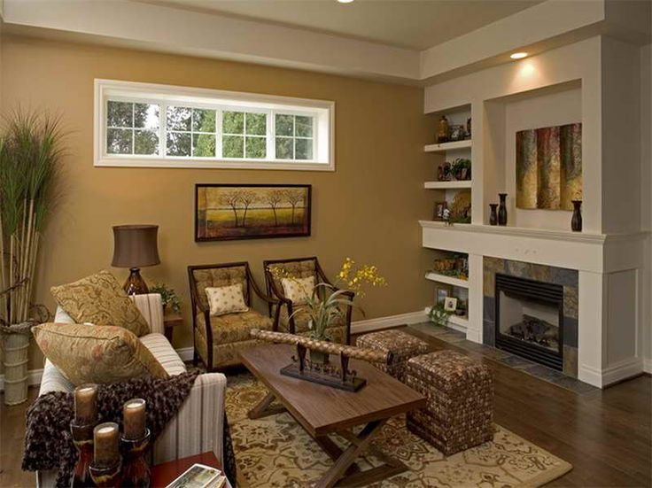 Livingroom Design Golden Wall Paint Rustic Table Smooth