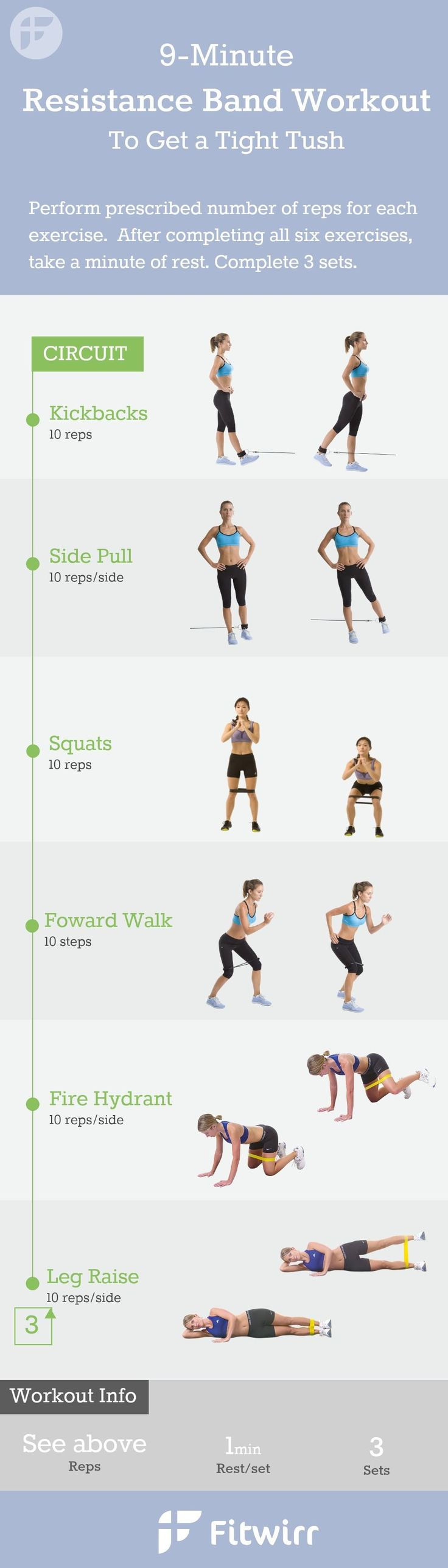 9-Minute Resistance Band Exercises for women. You don't have to lift heavy dumbbells or a medicine ball to get a great workout at