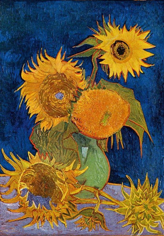 Ainda vaso da vida com cinco girassóis Óleo sobre tela, (1888) Flores, Vida, Vaso Pós impressionismo Vincent Van Gogh: