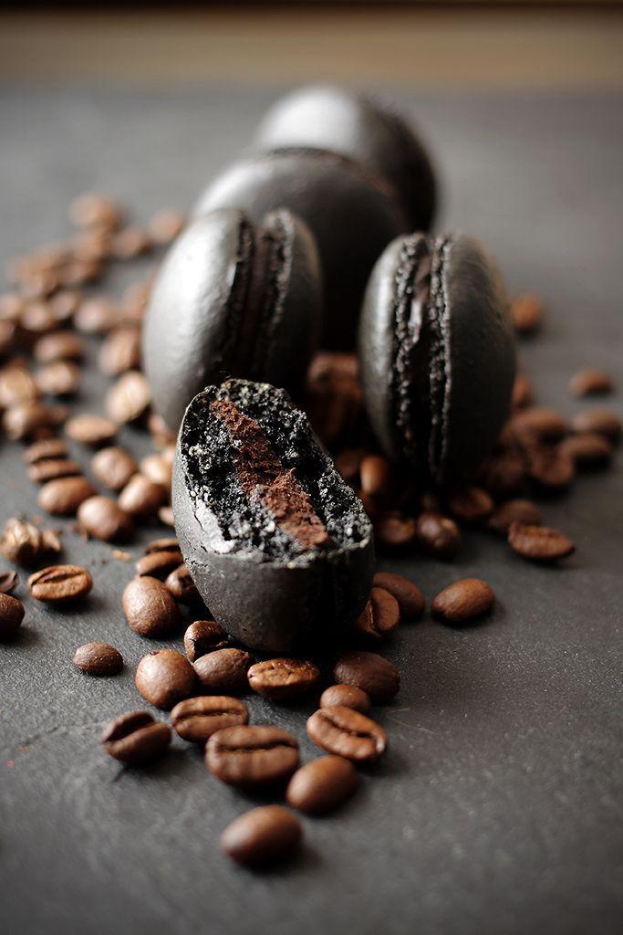 Black Coffee Macarons with chocolate cream centers