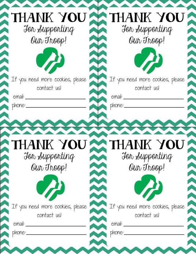 Generic Girl Scout Thank You Notes – great for cookie booth sales