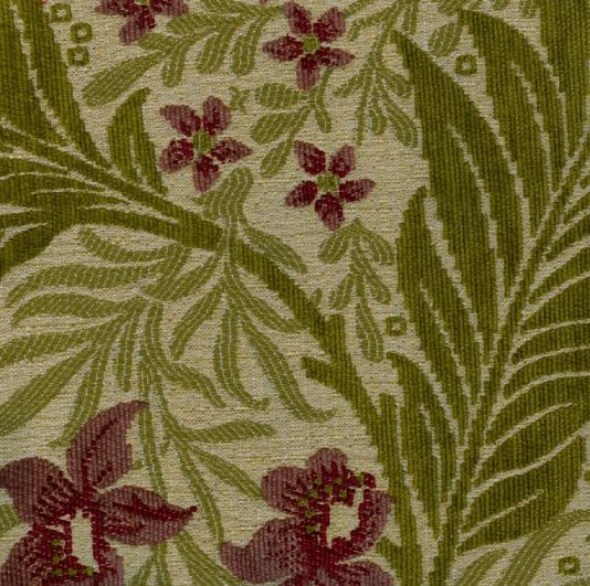 Larkspur Upholstery Fabric Woven Upholstery Fabric In Beige Green And Plum With Raised Chenille