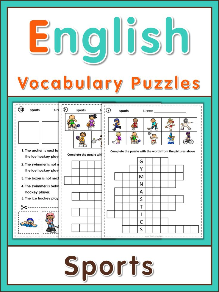 ESL Vocabulary Puzzles sports English, Student and Crossword