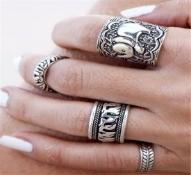 Amazon.com: Suns Vintage Retro Silver Elephant Joint Knuckle Nail Ring Set of 4 Rings: Clothing