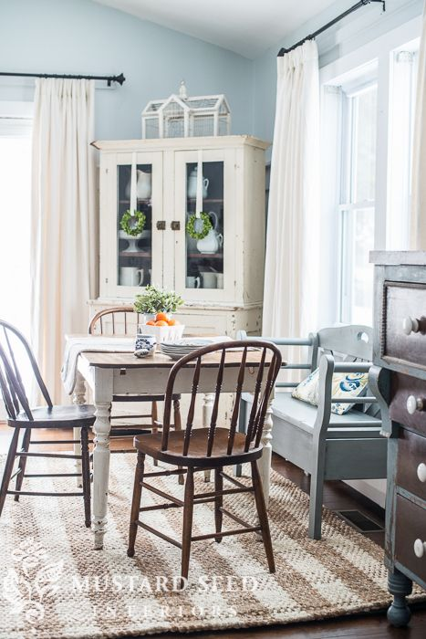 Checkered Jute Rug Farmhouse Style Table And Chairs Milk
