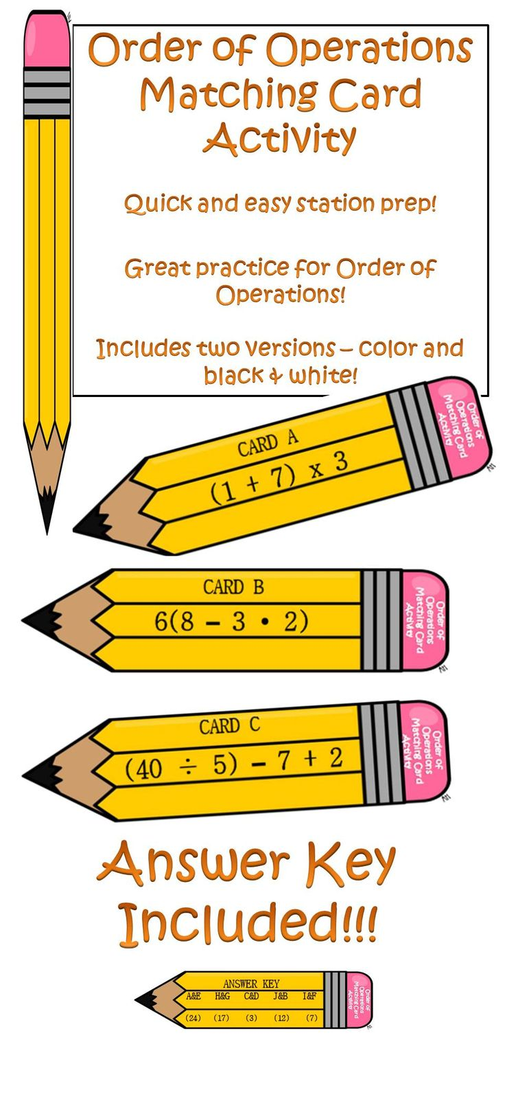 Order of Operations Matching Card Activity Includes
