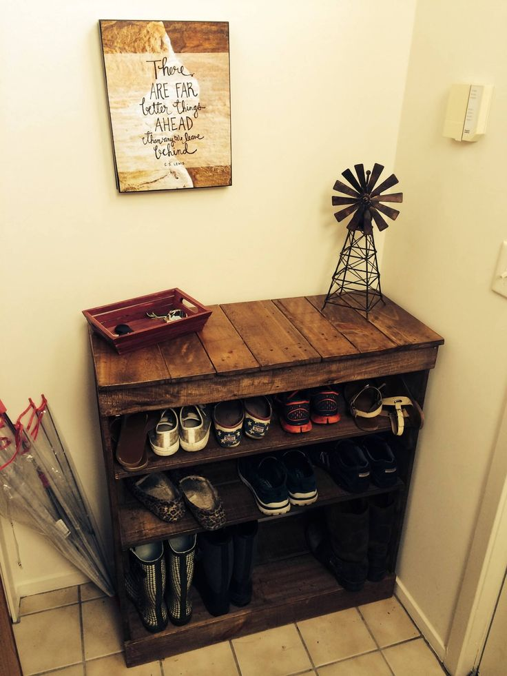 Shoe Rack Out Of Recycled Pallet Wood No Plans Just