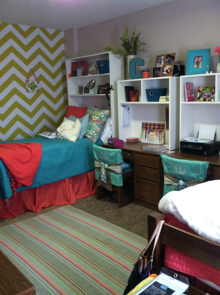 Pillowcases as a way to decorate chairs! Good idea! Dorm