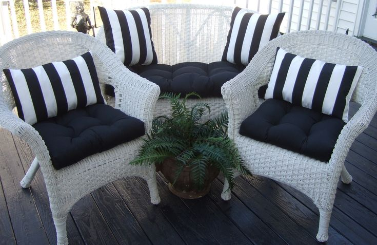 Wicker Outdoor Cushions Black Solid And Black & White