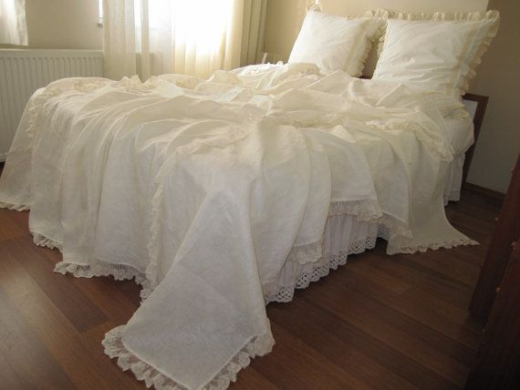 Linen Bed Cover Coverlet Solid Ivory Cream Cotton Tulle