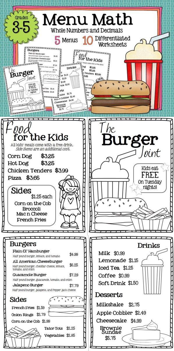 Math Restaurant Menus Bundle (4th 5th) The sweet