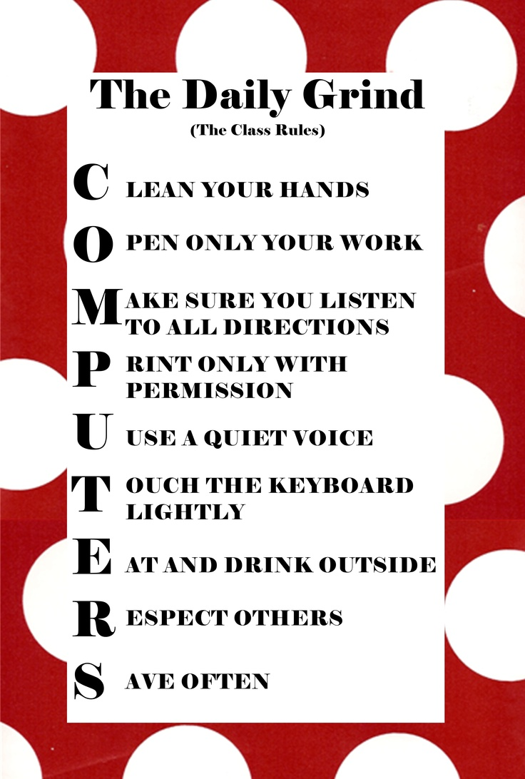 The rules for the computer lab Computer Lab Pinterest