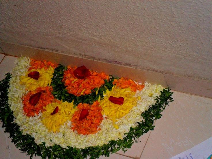 Flower rangoli.. Rangoli Designs Pinterest Flower