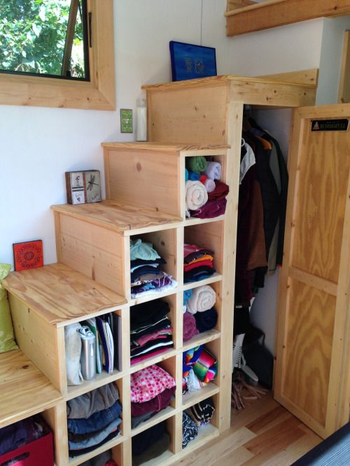 Good idea for tiny house stairs, which includes LOTS of storage. #TheCreativeCottage