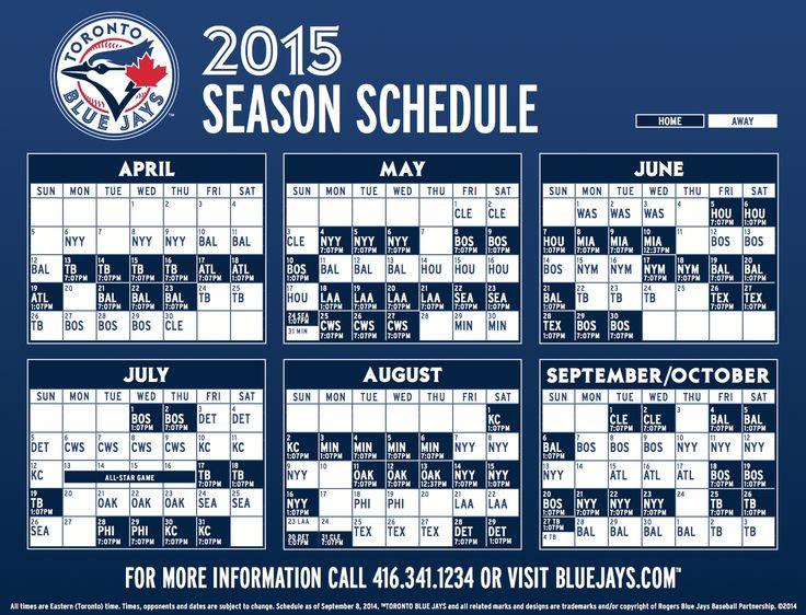 Blue Jays schedule 2015 (tentative) Sports Pinterest