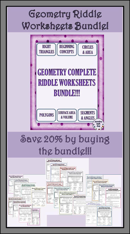 Geometry Riddle Worksheets Money Saving Bundle