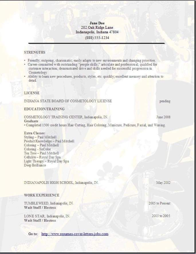 Cosmetology Resume Examples Sample Template