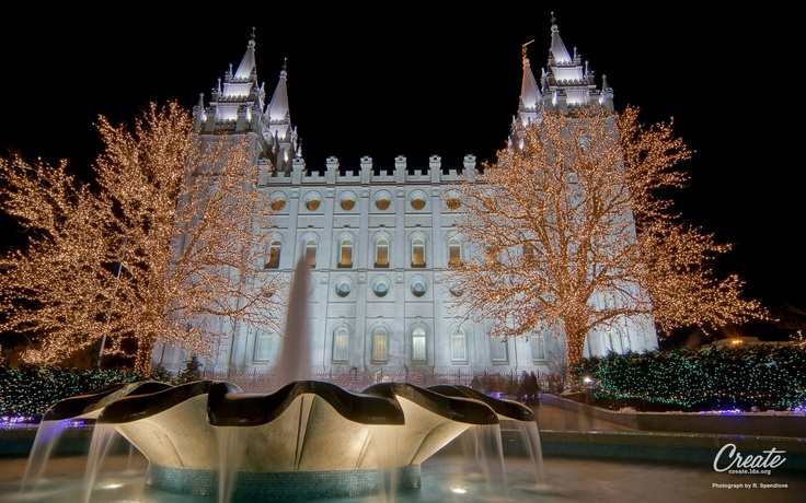 Salt Lake City, Temple Square Christmas Lights. Found at
