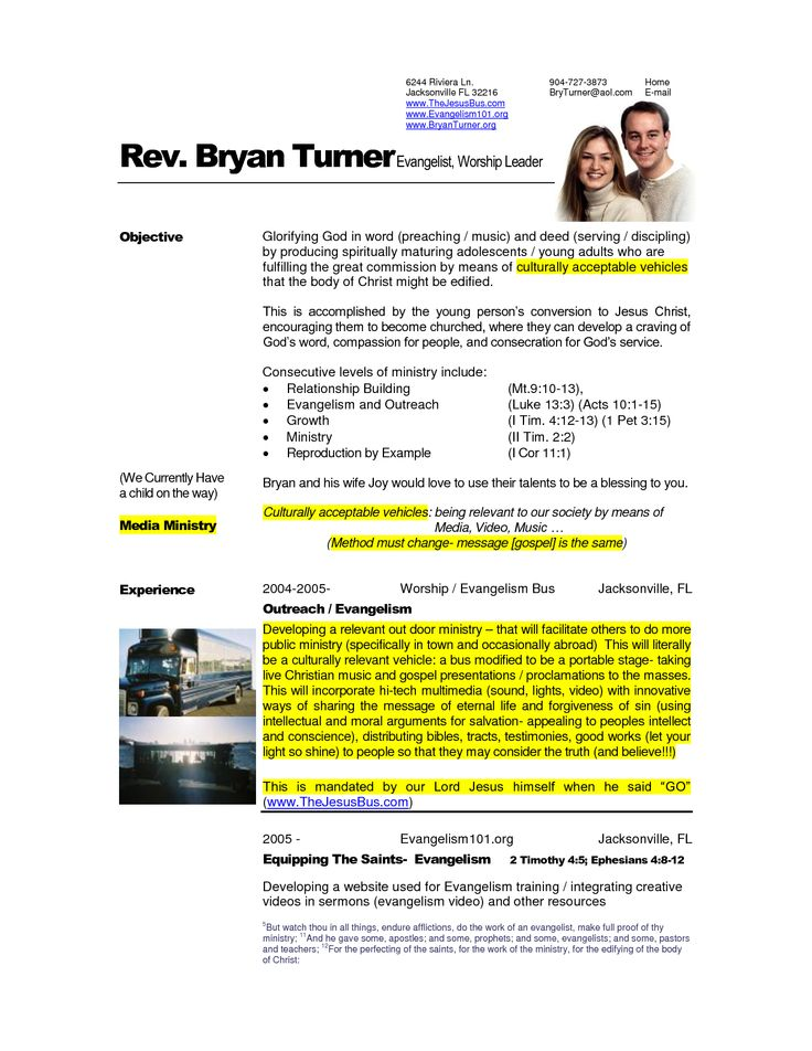 pastor professional resume samples and resume objective examples