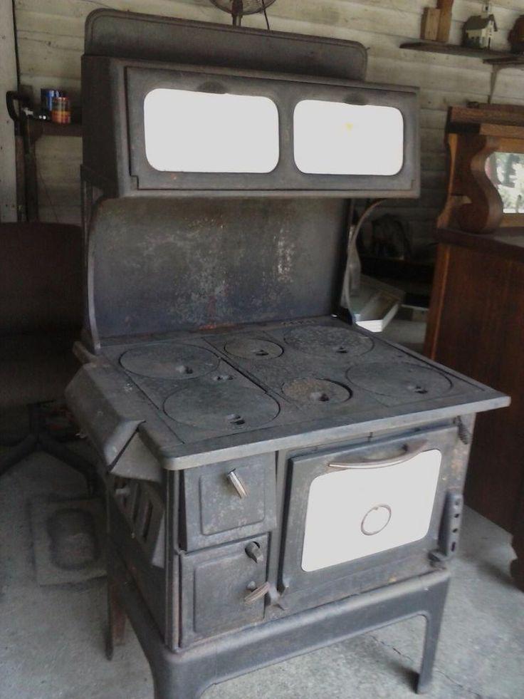 Antique Wood Cook OkLaundry Stove Parlor 6 Burner