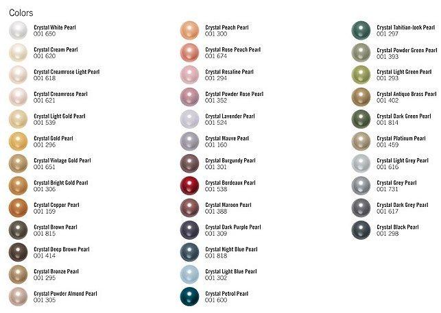 Swarovski Pearl Color Chart Crystal Bead Color Charts