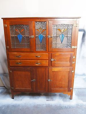 Vintage Retro ART DECO Leadlight Kitchen Dresser Cabinet
