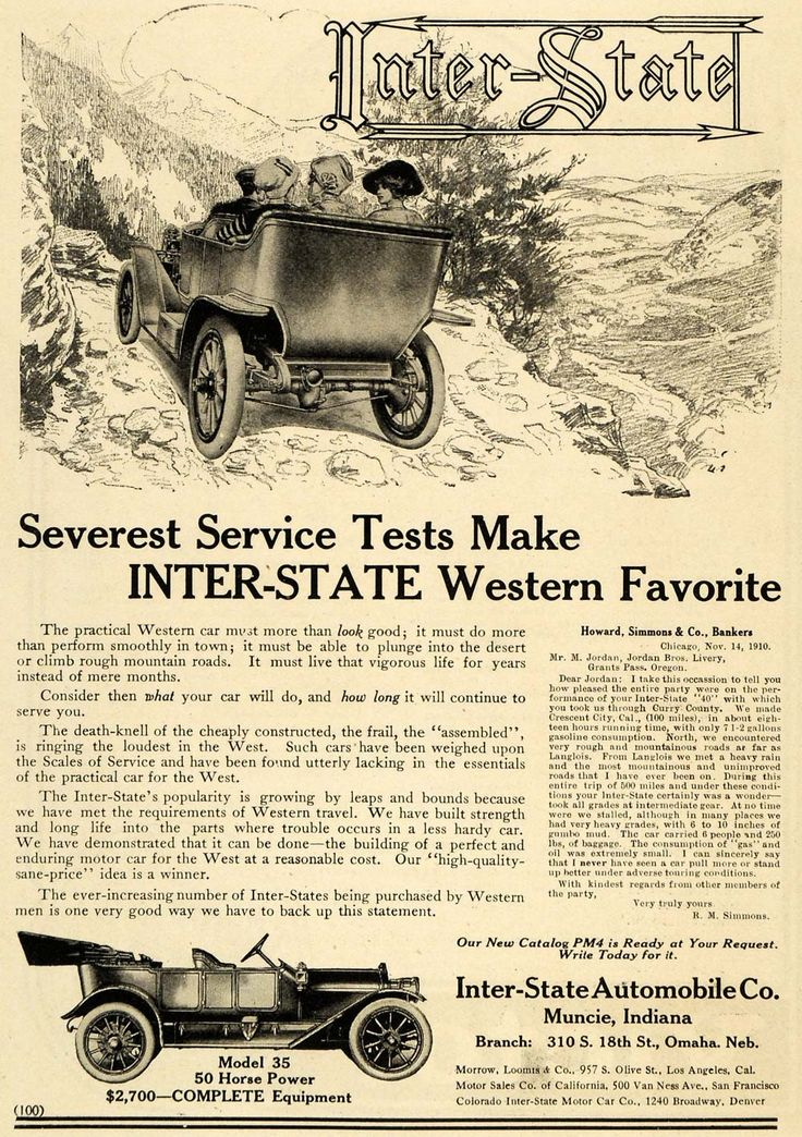 1911 Ad InterState Automobile Co. Western Model 35 Car