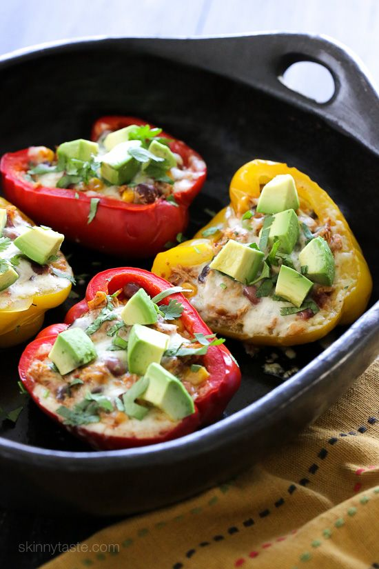 Chicken Taco Chili Stuffed Peppers – bell peppers stuffed with my ever-so-popular Crock Pot Chicken Taco Chili and topped with