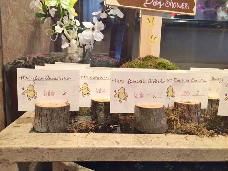 Classic Pooh Baby Shower Tree Stump Place Card Holders