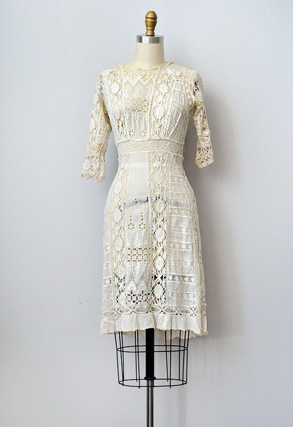 Antique 1910s Edwardian Lace Crochet Dress Www