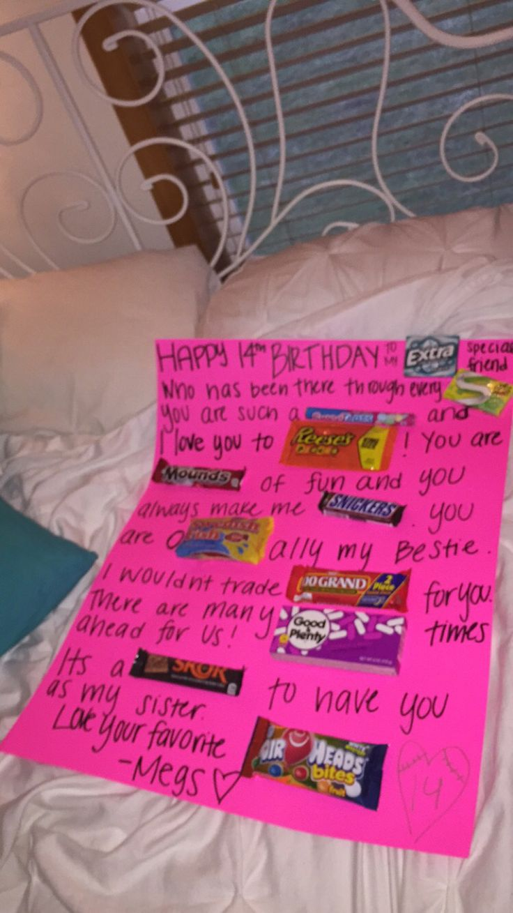Candy poster for best friends birthday!! birthday ideas