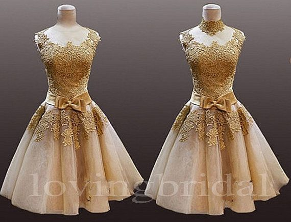 2014 Champagne Vintage Lace Evening Dress Formal By