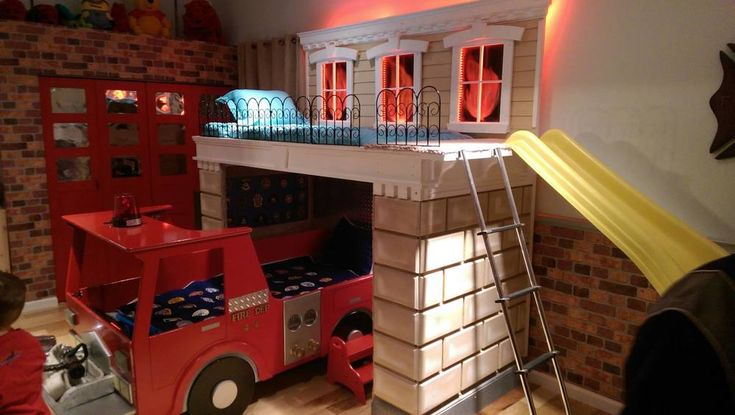 Firetruck And Burning Building Bunk Bed Of Your Dreams