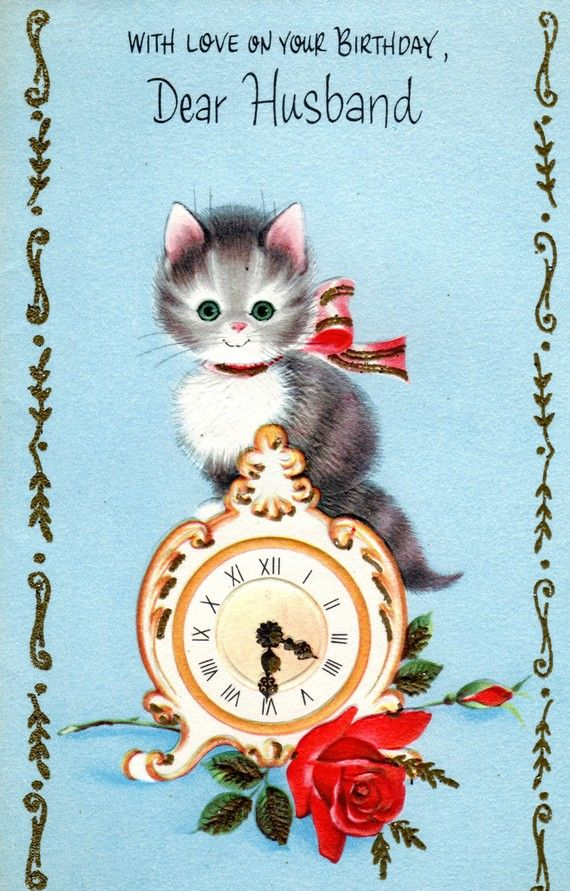Vintage HUSBAND Birthday Card Red Rose, Kitten, Clock NOS